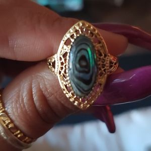 COPY - Gold toned abalone Ring